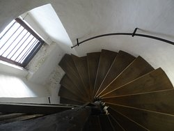 Stairs inside the tower in Trebon