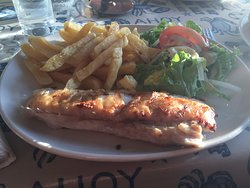 Hake (fish of the day) salad and chips. La Jolie Brise, Baltimore Co Cork