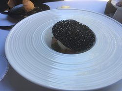 Duck egg with squid ink wafer