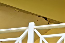 Damaged ceiling on balcony