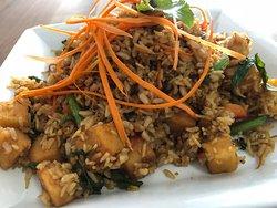 Thai holy basil fried rice with Adasha lentil protein