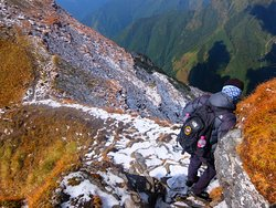 Our Guide and Friend, Chhabin, navigating the Mardi Himal ridge on our descent from Basecamp