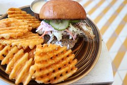 Fish Sandwich with Hand Cut Waffle Fries