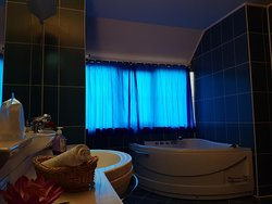 Immense bathroom, with a bidet and a Jacuzzi .Very beautiful and romantic