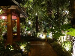 The restaurant is well set in the tropical landscape garden.