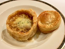 """French Onion Soup"" Nice presentation."