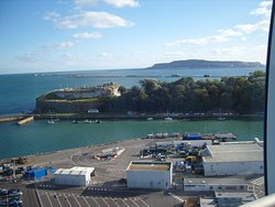 The entrance to Weymouth Harbour (and the Victorian Nothe Fort) looking south from the Sealife T