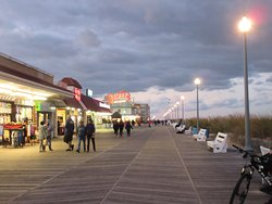 This is the boardwalk in the evening of the cool day