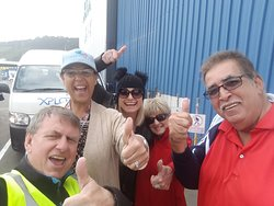 Selfie with Julie, Angela, Gisela and Robert at the cruise ship terminal