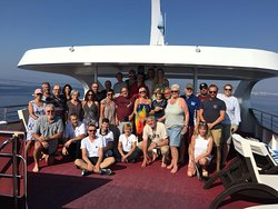 The ship with crew and friends
