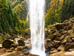 Behind the Peričnik waterfall