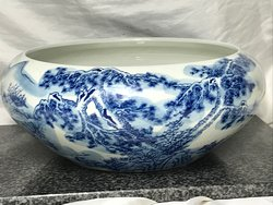 Oriental Meiping Qianlong Style Round Blue & White Porcelain Centrepiece Bowl