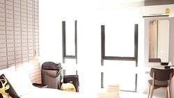 Floor to ceiling windows, good amount of daylight