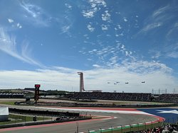 Helicopters flying over during the national anthem for F1 @ COTA