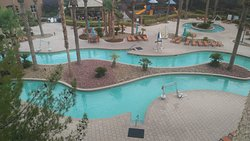 Lazy River pool with everyone out for a lightening storm.