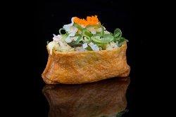 INARI: Tempura prawn, seaweed salad, flying fish roe, spicy sauce