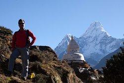 Amadablam Mountain & Buddhist Stupa, near Pangboche Village, Solukhumbu Nepal