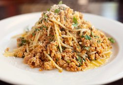 Spegetti with our homemade turkey ragu sauce