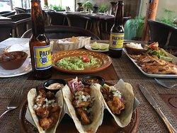 Shrimp tacos, guacamole, and shrimp special