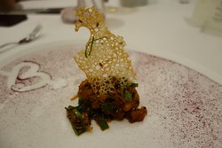 lamb brain fritter with spring onion butter emulsion