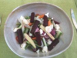 Beetroot, goat cheese garden salad