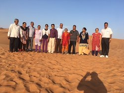 friends and family group picture while Desert safari