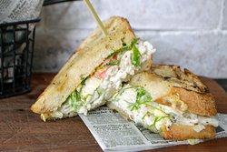 King Crab Salad Sandwich  Scallion, Celery Leaf, Scallion, Blackened Aioli, Sourdough, House Chips