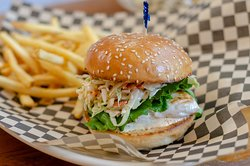 Grilled mahi-mahi fish sandwich.