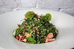 Smoked Salmon and Farro Chopped Salad  Kale, Sorrel, Preserved Orange, Dill, Kumquat, Pistachio, Curry Vinaigrette