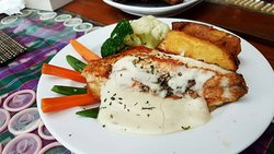 Grilled Seabass with White Wine Sauce