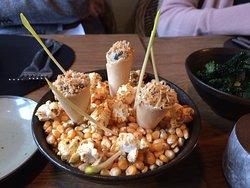 Amuse met maïsscheuten