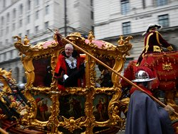 The gold coach with the new Lord Mayor, in the Lord Mayor's Show in the City of London