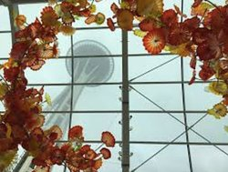 Looking up at the Space Needle through the glass, unfortunately the weather was typical Seattle for most of our visit