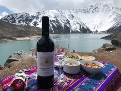 Chilean wine & snack at the top of Cajon del Maipo. #nofilter #seriously