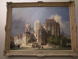 Painting of the cathedral at the start of the restoration work