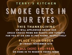 For Thanksgiving, let us do the heavy lifting and provide for your gathering — one of our Angus Choice Prime Rib Roasts or Turkeys. Applewood smoked for you to pick up on Thanksgiving Day. Priced at $18 and $6 per pound, respectively. Ready to eat. 😋  Place your order by Friday, November 16th. Call or stop by to reserve your order today.  (425) 590-9545