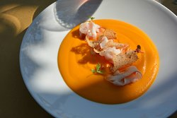 carrot soup, with prosciutto, and feather light pastry