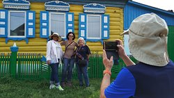 Old Believers village Bolshoi Kunalei is the iconic Russian village with all colorful wooden houses