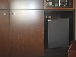 Dirty furniture, and a very unsightly view from the bed over the empty fridge as they are not serving any alcohol.