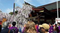 神職人員將祈福過的繩子綁在柳樹上,相傳搶到繩子的人可獲得好運。