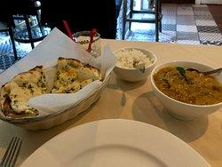 Garlic Naan, Tellicherri Pepper Chicken