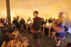 Sami story telling and joiking in our lavvu tent