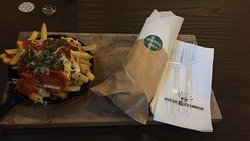 Pizza Fries and Chicken Gyro