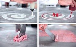 Le procédé iceRoll est très simple :  Nous versons la base de lait, Nous rajoutons les fruits et purées de fruits frais mixés Nous mélangeons le tout et on roule !