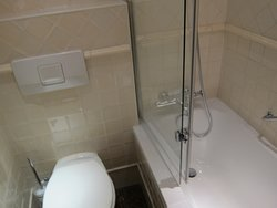 Bath-shower-toilet.  Everything exceptionally clean!!