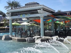 Aqua Restaurant's patio is over the water