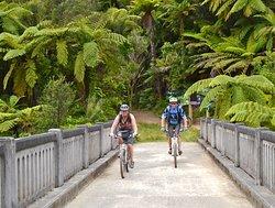 Mountain bikers on the Bridge to Nowhere