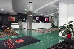 Reception area of hotel which has just had a refurbishment