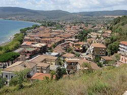Trevignano Town from the Rocca degli Orsini above the Centro Storico. Viale Bar on distant lakeshore - LHS - looking westwards.