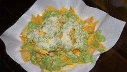 Hola amigos !!!!!!!!!!!! CHIPS WITH GUACAMOLE:  Tortilla Chips with Guacamole , Cheddar Cheese and Añejo Cheese.